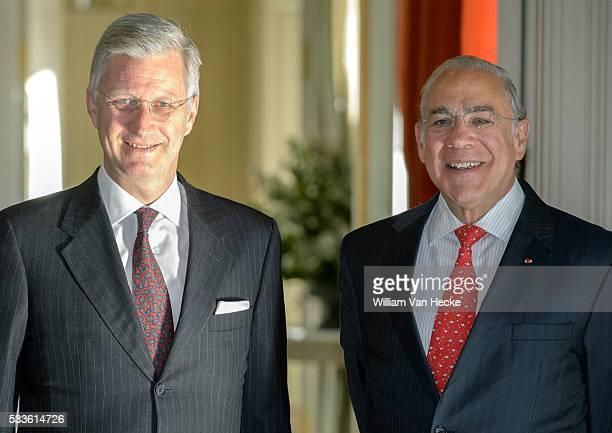 Le Roi Philippe reçoit José Angel Gurría Secrétaire général de l'Organisation de Coopération et de Développement Economique pour un déjeuner au...