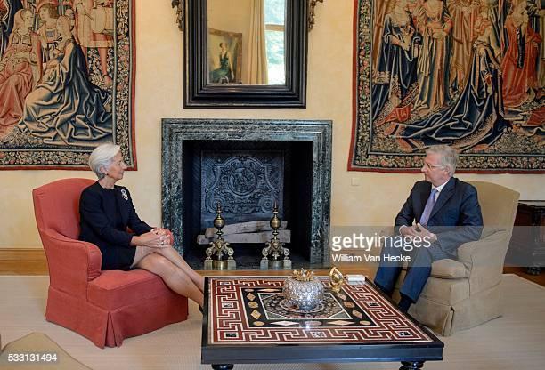 Le Roi reçoit Christine Lagarde Directrice générale du Fonds Monétaire International Koning Filip ontvangt Christine Lagarde Algemene Directrice van...