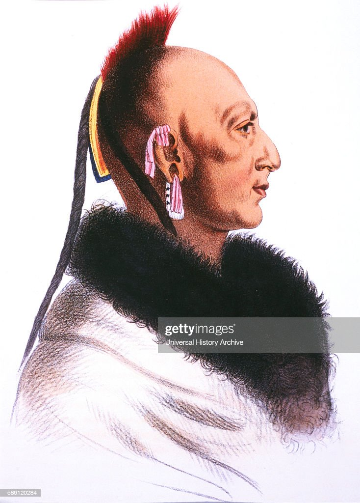 Le Soldat du Chene Osage Chief Lithograph by McKinney and Hall after a Painting by Charles de SaintMemin circa 1805