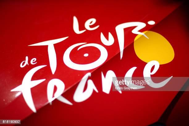 Le Tour de France logo is seen on a car during stage 16 of the 2017 Le Tour de France a 165km stage from Le PuyenVelay to RomanssurIsère on July 18...