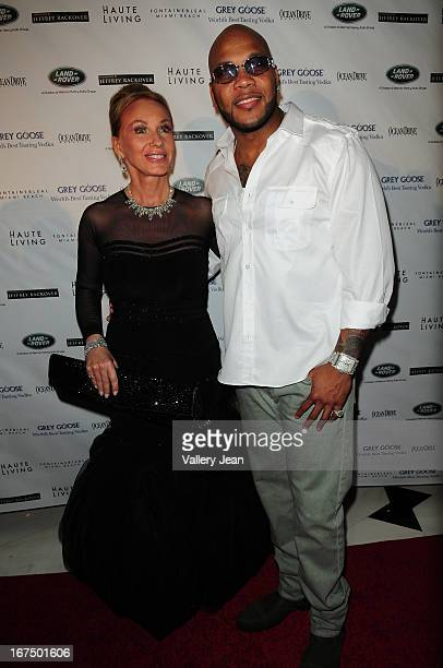 Lea Black and Flo Rida attend The Blacks' Annual Gala 2013 at Fontainebleau Miami Beach on April 13 2013 in Miami Beach Florida