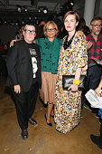 Lea DeLaria Amy Sedaris and Chelsea Fairless attend the Adam Selman fashion show during Spring 2016 MADE Fashion Week at Milk Studios on September 10...
