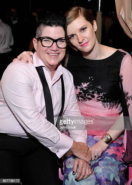Lea DeLaria and Chelsea Fairless attend the Weinstein Company Netflix's 2016 SAG after party hosted by Absolut Elyx at Sunset Tower on January 30...