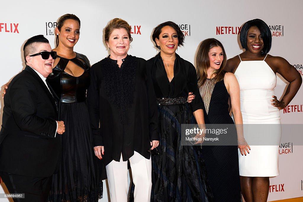 Lea DeLaria Dascha Polanco Kate Mulgrew Selenis Levya Yael Stone and Uzo Aduba during the 'Orange is the New Black' Europe Premiere at Kino in der...