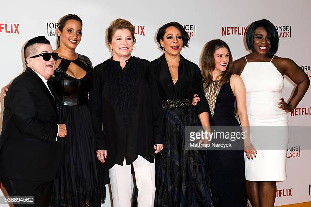 Lea DeLaria Dascha Polanco Kate Mulgrew Selenis Levya Yael Stone and Uzo Aduba during the 'Orange is the New Black' Europe Premiere at Kino in der...
