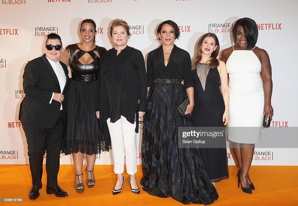 Lea DeLaria Dascha Polanco Kate Mulgrew Selenis Leyva Yael Stone and Uzo Aduba attend the European premiere of the fourth season of 'Orange Is The...