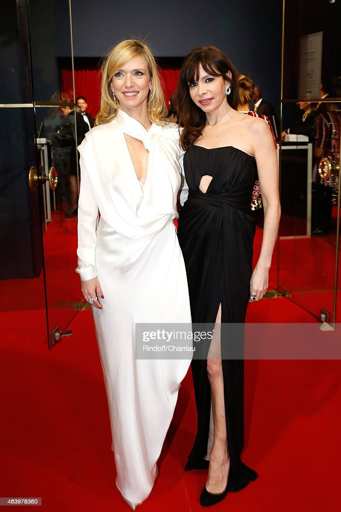 Lea Drucker and a guest arrive at the 40th Cesar Film Awards 2015 Cocktail at Theatre du Chatelet on February 20 2015 in Paris France