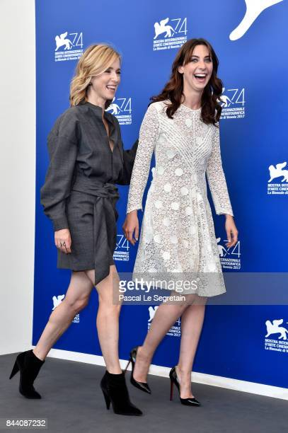 Lea Drucker and Mathilde Auneveux walk the red carpet ahead of the 'Jusqu'a La Garde' screening during the 74th Venice Film Festival at Sala Grande...