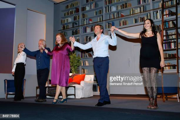 Lea Drucker Bernard Murat Anne Benoit Guillaume de Tonquedec and Alka Balbir acknowledge the applause of the audience at the end of 'La vraie vie'...