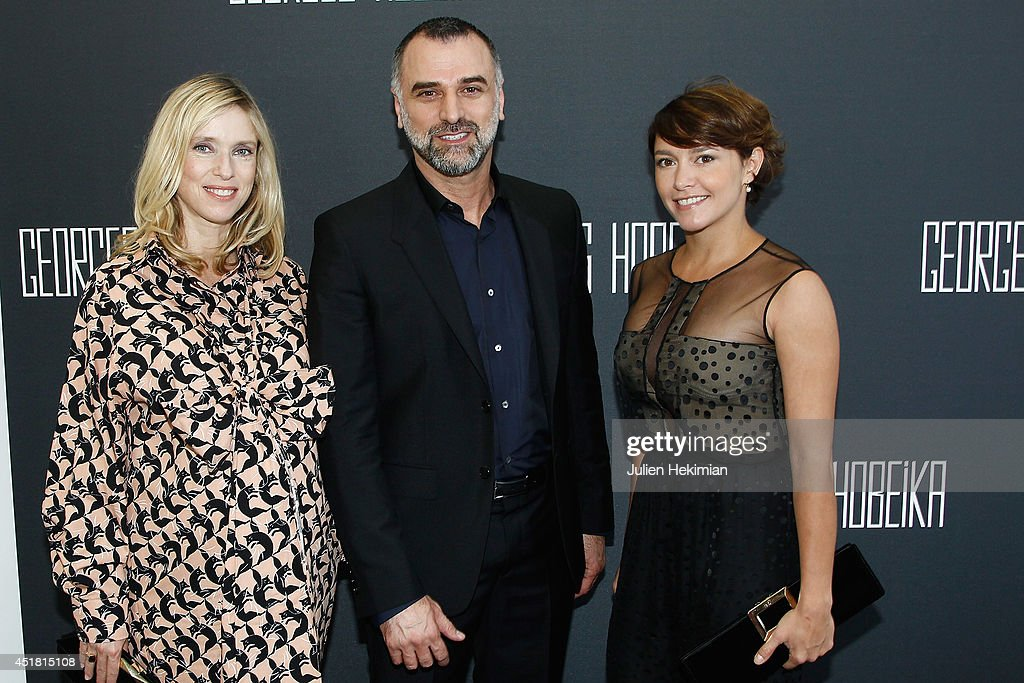 Lea Drucker designer Georges Hobeika and Emma de Caunes pose backstage after the Georges Hobeika show as part of Paris Fashion Week Haute Couture...