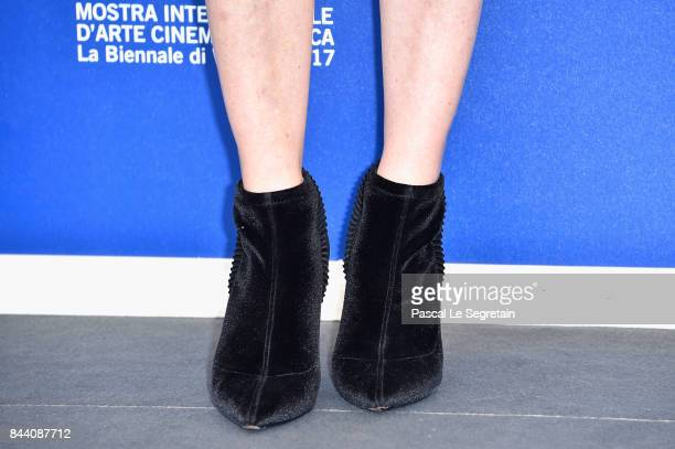 Lea Drucker shoes detasils walks the red carpet ahead of the 'Jusqu'a La Garde' screening during the 74th Venice Film Festival at Sala Grande on...