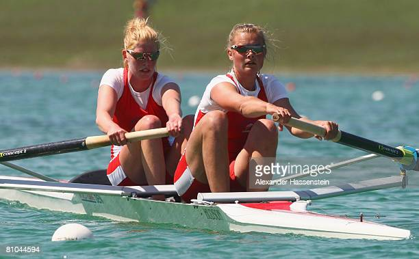 Lea Jakobsen and Fie Graugaard of Denmark compete in the women's pairs during day 2 of the FISA Rowing World Cup at the Ruderregattastrecke on May 9...