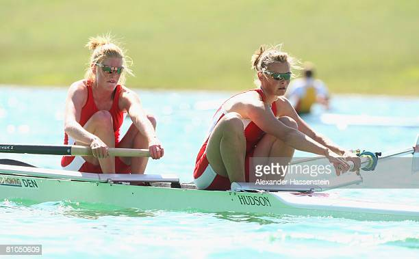 Lea Jakobsen and Fie Graugaard of Denmark compete in the Women's pairs event during day 3 of the FISA Rowing World Cup at the Ruderregattastrecke on...