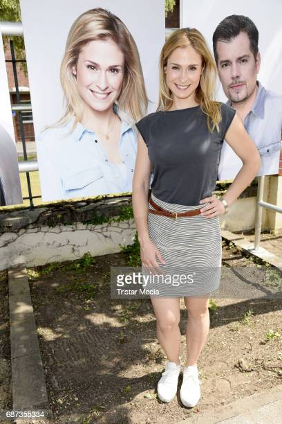 Lea Marlen Woitack poses during the portrait exhibition to celebrate 25th anniversary of tv series 'Gute Zeiten schlechte Zeiten' at Filmpark...