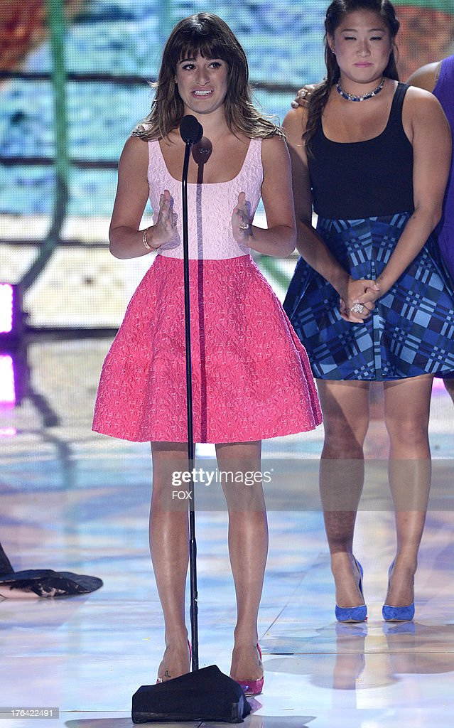 <a gi-track='captionPersonalityLinkClicked' href=/galleries/search?phrase=Lea+Michele&family=editorial&specificpeople=566514 ng-click='$event.stopPropagation()'>Lea Michele</a> accepts the award for Choice TV Show:Comedy for 'Glee' onstage at the 2013 Teen Choice Awards at Gibson Amphitheater on August 11, 2013 in Universal City, California.