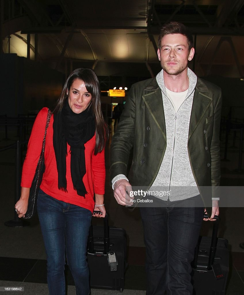 <a gi-track='captionPersonalityLinkClicked' href=/galleries/search?phrase=Lea+Michele&family=editorial&specificpeople=566514 ng-click='$event.stopPropagation()'>Lea Michele</a> and <a gi-track='captionPersonalityLinkClicked' href=/galleries/search?phrase=Cory+Monteith&family=editorial&specificpeople=4491048 ng-click='$event.stopPropagation()'>Cory Monteith</a> are seen at JFK Airport on March 5, 2013 in New York City.