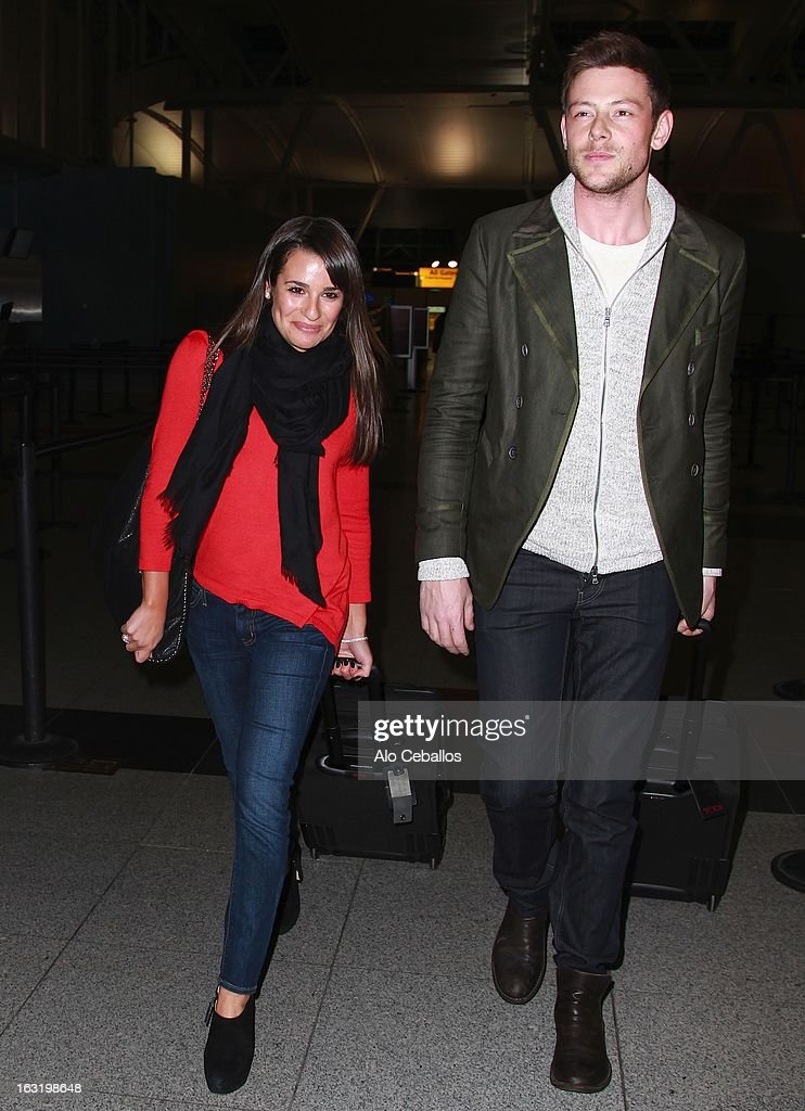 Lea Michele and Cory Monteith are seen at JFK Airport on March 5, 2013 in New York City.