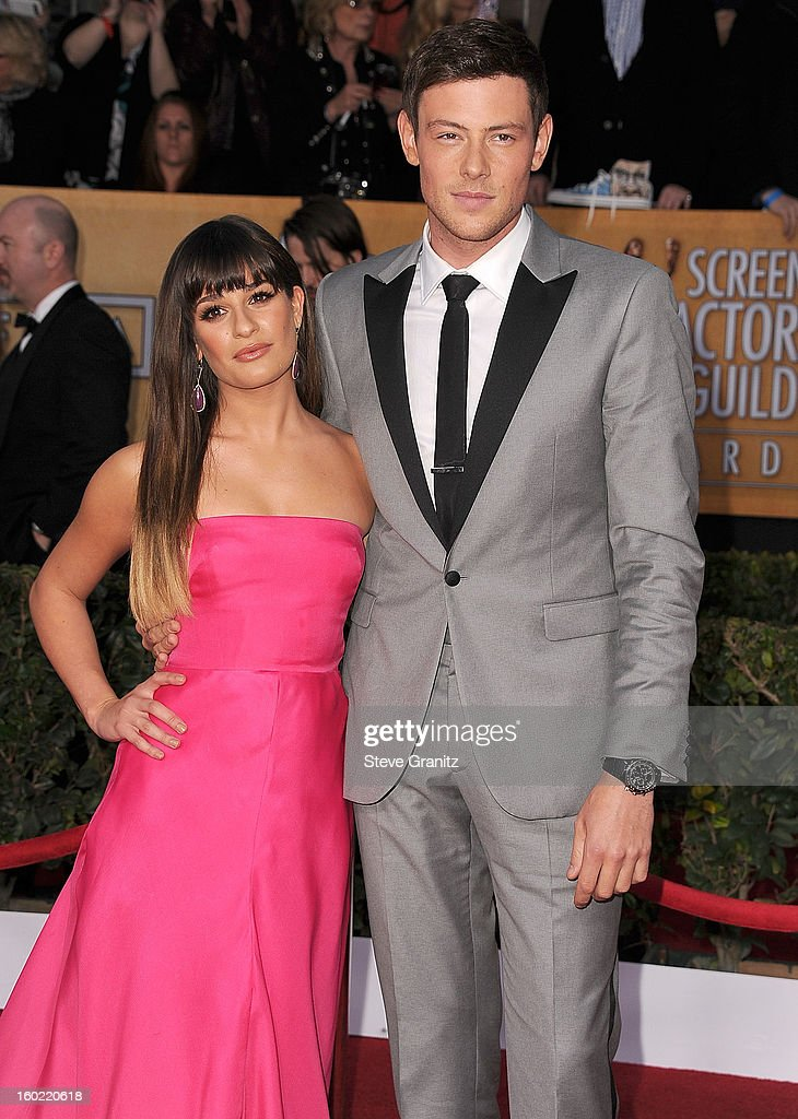 Lea Michele and Cory Monteith arrives at the 19th Annual Screen Actors Guild Awards at The Shrine Auditorium on January 27, 2013 in Los Angeles, California.