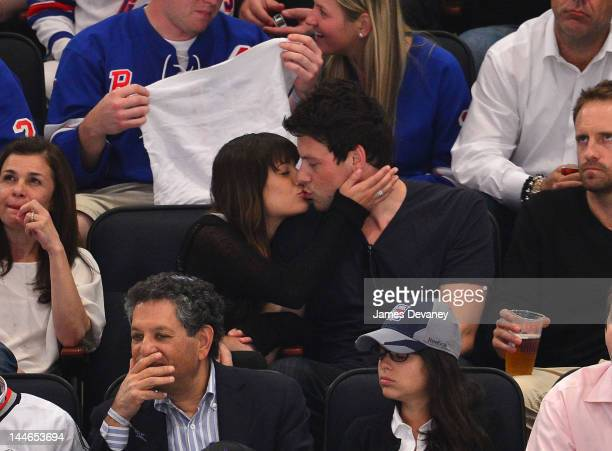 Lea Michele and Cory Monteith attend New York Rangers vs New Jersey Devils playoff game at Madison Square Garden on May 16 2012 in New York City