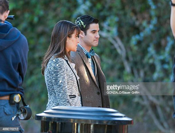 Lea Michele and Darren Criss are seen filming 'Glee' on November 19 2014 in Los Angeles California