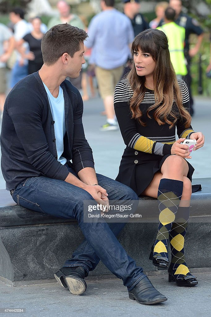 Lea Michele and Dean Geyer are seen on the set of 'Glee' on August 11 2012 in New York City