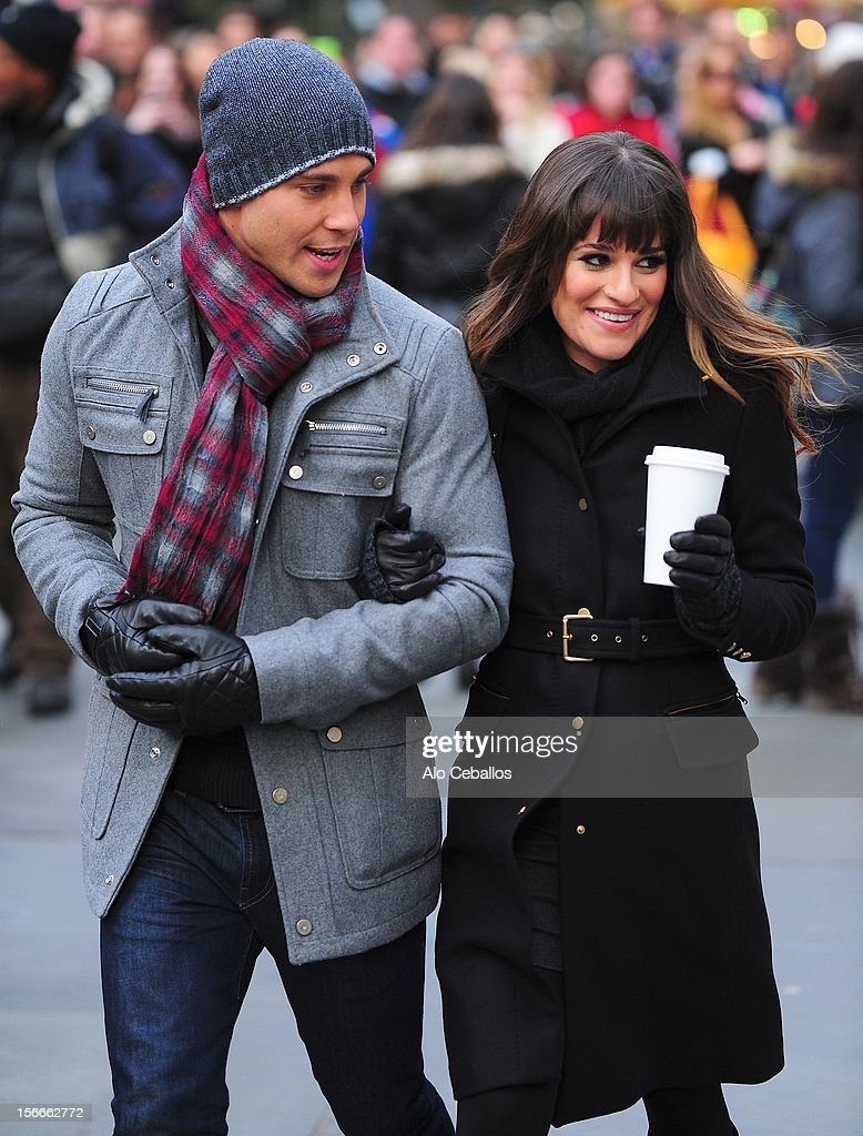 Lea Michele and Dean Geyer are seen on the set of 'Glee' on the streetss of Manhattan on November 18 2012 in New York City
