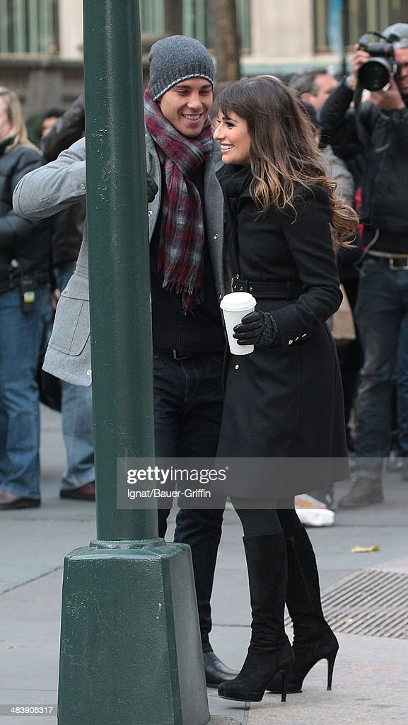 Lea Michele and Dean Geyerin are seen on movie set of 'Glee' on November 18 2012 in New York City