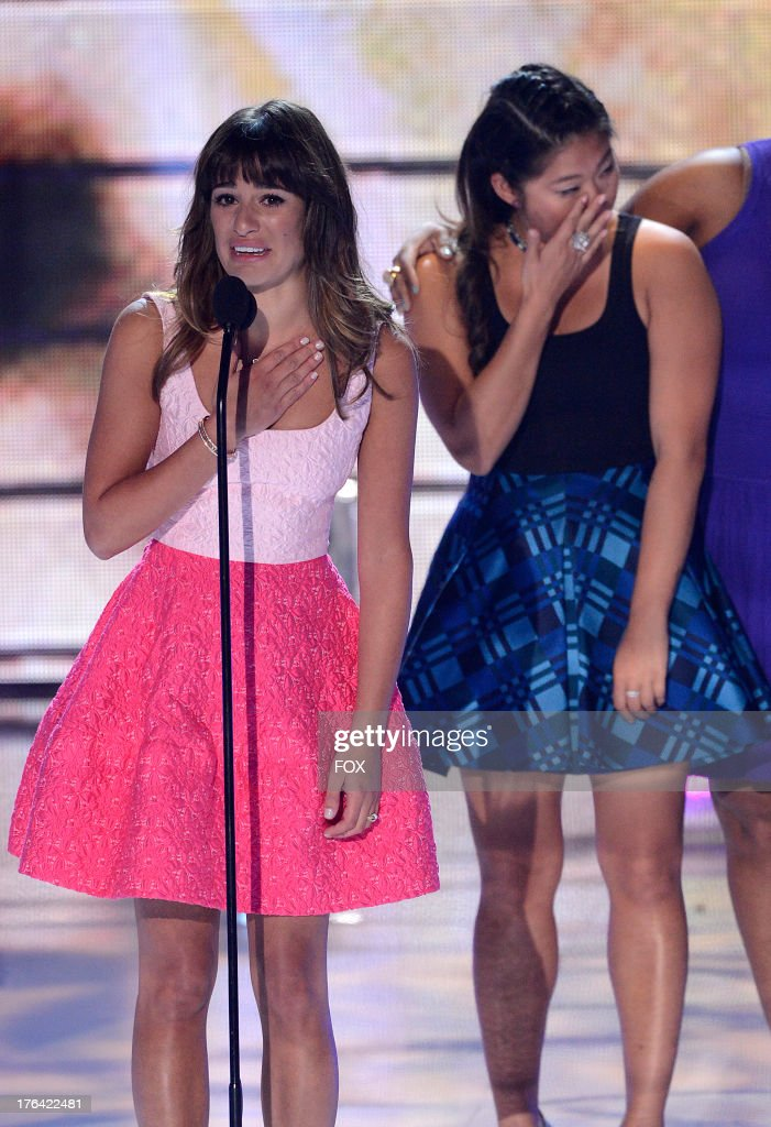 <a gi-track='captionPersonalityLinkClicked' href=/galleries/search?phrase=Lea+Michele&family=editorial&specificpeople=566514 ng-click='$event.stopPropagation()'>Lea Michele</a> and Jenna Ushkowitz speak onstage at the 2013 Teen Choice Awards at Gibson Amphitheater on August 11, 2013 in Universal City, California.