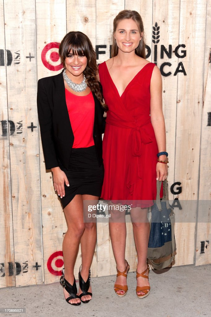 <a gi-track='captionPersonalityLinkClicked' href=/galleries/search?phrase=Lea+Michele&family=editorial&specificpeople=566514 ng-click='$event.stopPropagation()'>Lea Michele</a> (L) and Lauren Bush Lauren attend the Target FEED Collaboration launch at Brooklyn Bridge Park on June 19, 2013 in New York City.