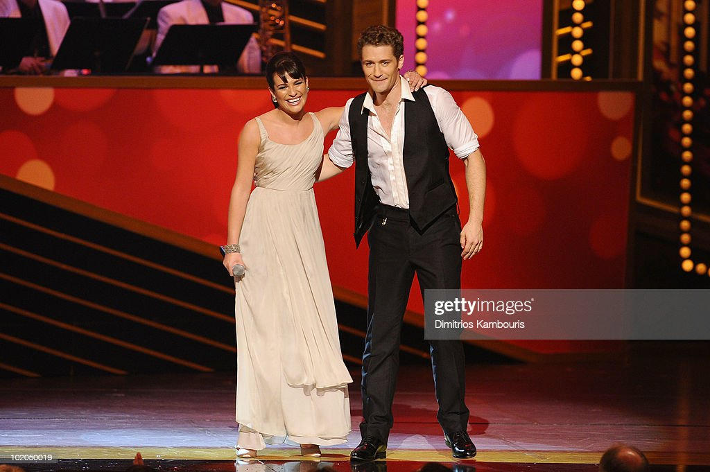 Lea Michele and Matthew Morrison perform onstage during the 64th Annual Tony Awards at Radio City Music Hall on June 13 2010 in New York City
