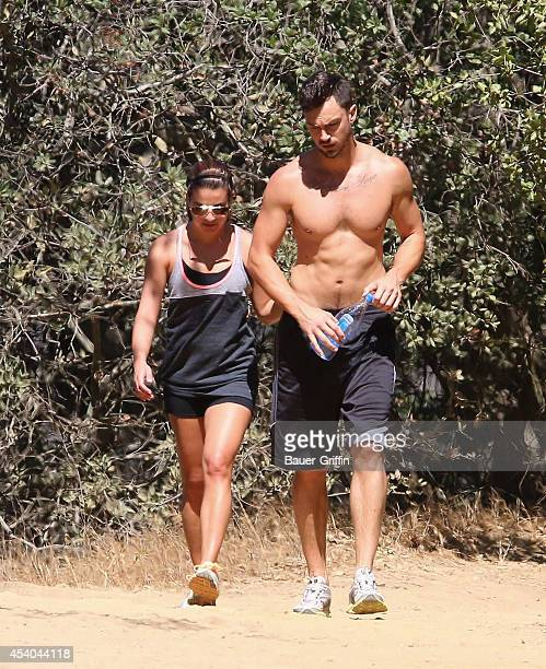 Lea Michele and Matthew Paetz are seen on August 23 2014 in Los Angeles California