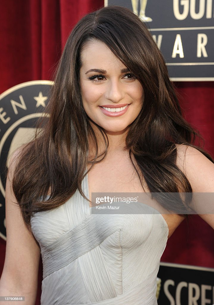 Lea Michele arrives at The 18th Annual Screen Actors Guild Awards broadcast on TNT/TBS at The Shrine Auditorium on January 29 2012 in Los Angeles...