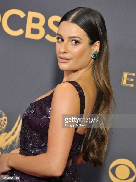 Lea Michele arrives at the 69th Annual Primetime Emmy Awards at Microsoft Theater on September 17 2017 in Los Angeles California