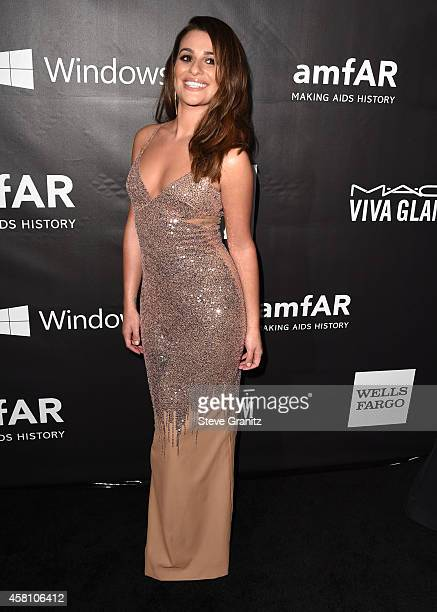 Lea Michele arrives at the amfAR LA Inspiration Gala Honoring Tom Ford Hosted By Gwyneth Paltrow at Milk Studios on October 29 2014 in Hollywood...