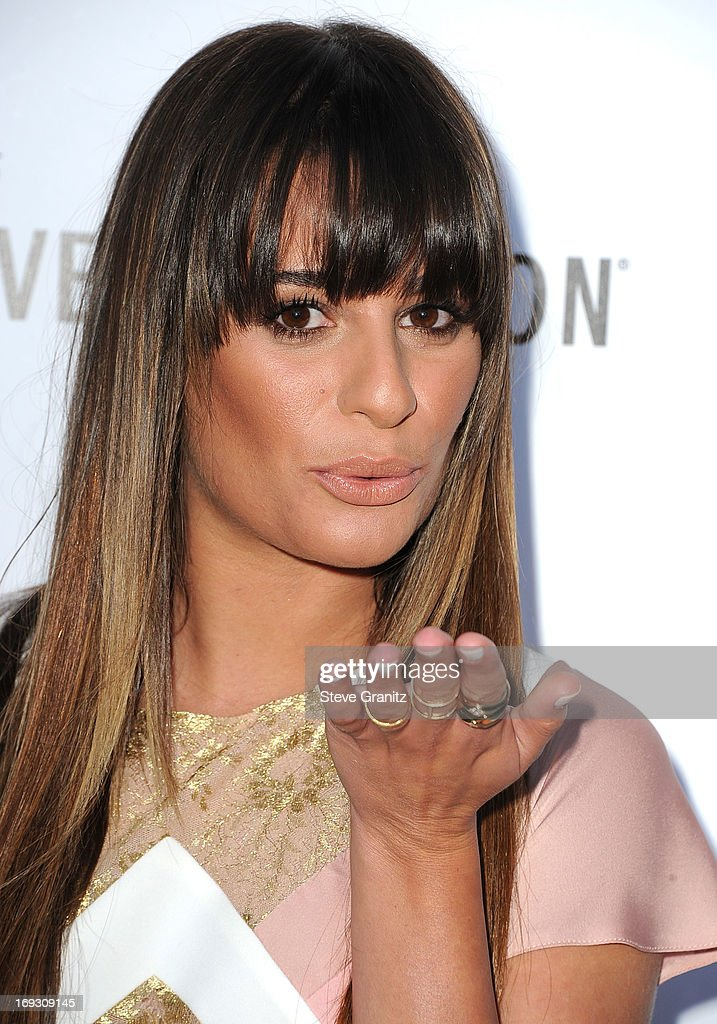 <a gi-track='captionPersonalityLinkClicked' href=/galleries/search?phrase=Lea+Michele&family=editorial&specificpeople=566514 ng-click='$event.stopPropagation()'>Lea Michele</a> arrives at the The Beverly Hilton Unveils Redesigned Aqua Star Pool By Estee Stanley at The Beverly Hilton Hotel on May 22, 2013 in Beverly Hills, California.