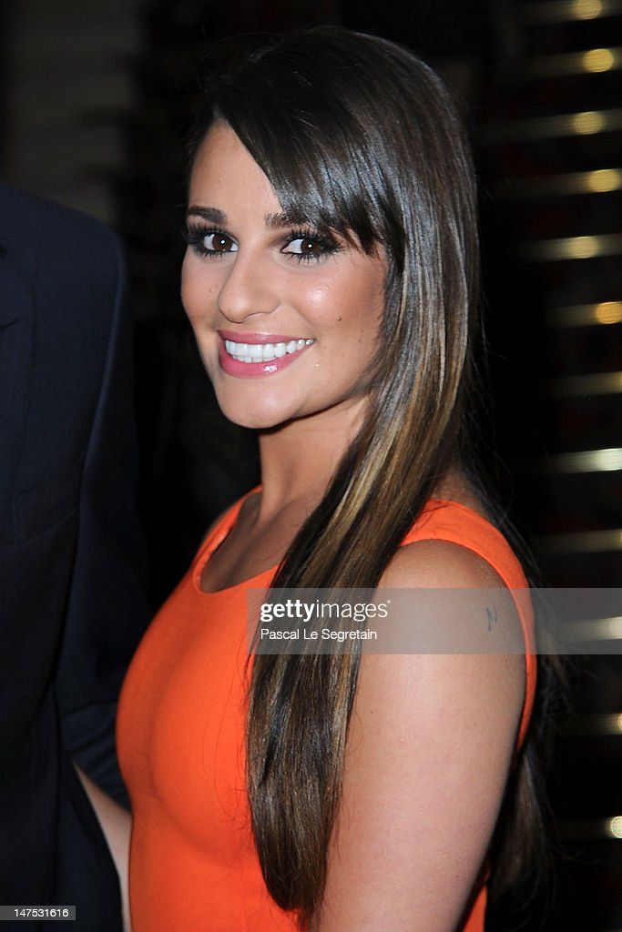 <a gi-track='captionPersonalityLinkClicked' href=/galleries/search?phrase=Lea+Michele&family=editorial&specificpeople=566514 ng-click='$event.stopPropagation()'>Lea Michele</a> arrives at the Versace Haute-Couture show as part of Paris Fashion Week Fall / Winter 2012/13 at the Ritz hotel on July 1, 2012 in Paris, France.