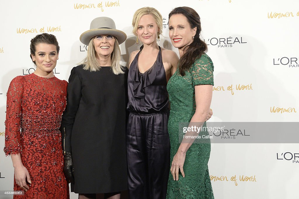 Lea Michele, Diane Keaton, Aimee Mullins and Andie MacDowell attend L'Oreal Paris' Women of Worth 2013 at The Pierre Hotel on December 3, 2013 in New York City.