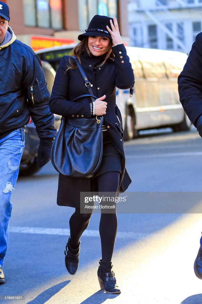 <a gi-track='captionPersonalityLinkClicked' href=/galleries/search?phrase=Lea+Michele&family=editorial&specificpeople=566514 ng-click='$event.stopPropagation()'>Lea Michele</a> is seen on location is Chinatown filming 'Glee' on March 13, 2014 in New York City.