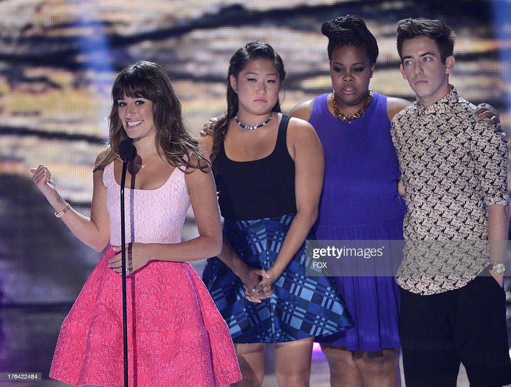 <a gi-track='captionPersonalityLinkClicked' href=/galleries/search?phrase=Lea+Michele&family=editorial&specificpeople=566514 ng-click='$event.stopPropagation()'>Lea Michele</a>, Jenna Ushkowitz, Amber Riley and Kevin McHale speak onstage at the 2013 Teen Choice Awards at Gibson Amphitheater on August 11, 2013 in Universal City, California.