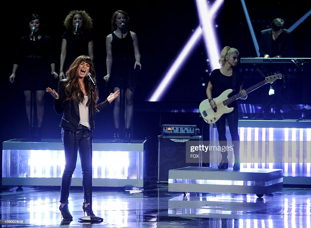 <a gi-track='captionPersonalityLinkClicked' href=/galleries/search?phrase=Lea+Michele&family=editorial&specificpeople=566514 ng-click='$event.stopPropagation()'>Lea Michele</a> performs onstage on FOX's 'The X Factor' Season 3 Live Finale on December 19, 2013 in Hollywood, California.