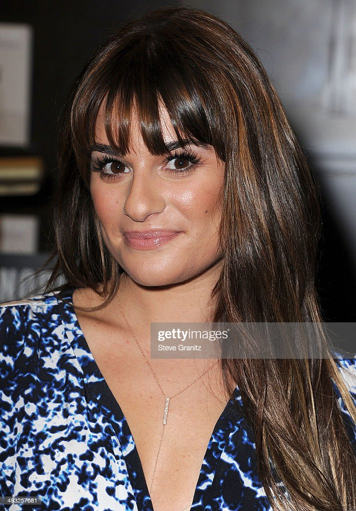 <a gi-track='captionPersonalityLinkClicked' href=/galleries/search?phrase=Lea+Michele&family=editorial&specificpeople=566514 ng-click='$event.stopPropagation()'>Lea Michele</a> Signs Copies Of Her New Book 'Brunette Ambition' at Barnes & Noble bookstore at The Grove on May 22, 2014 in Los Angeles, California.