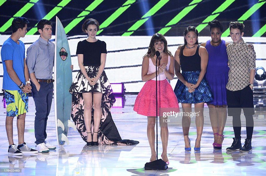 <a gi-track='captionPersonalityLinkClicked' href=/galleries/search?phrase=Lea+Michele&family=editorial&specificpeople=566514 ng-click='$event.stopPropagation()'>Lea Michele</a> speaks onstage at the 2013 Teen Choice Awards at Gibson Amphitheater on August 11, 2013 in Universal City, California.