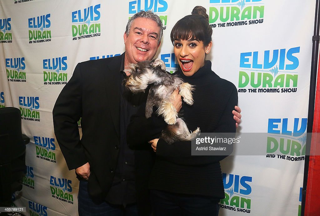 Lea Michele visits Elvis Duran (left) and the Elvis Duran z100 Morning Show at Z100 Studio on December 3, 2013 in New York City.