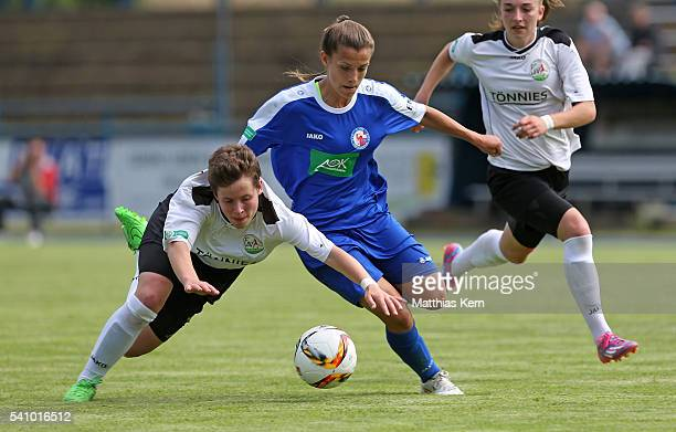 Lea Nitschke of Potsdam battles for the ball with Svenja Hoerenbaum of Guetresloh during the U17 Girl's German Championship final match between 1FFC...