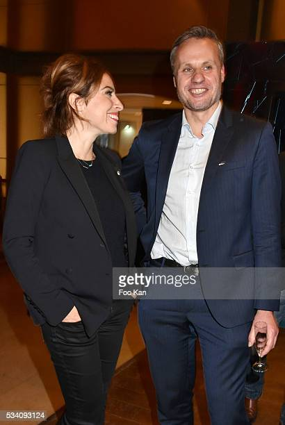 Lea Salame and Jean Sebastien Ferjou attend Atlantico 5th Anniversary at Cafe Campana in Musee D'Orsay on May 24 2016 in Paris France