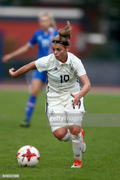 Lea Schneider of Germany runs with the ball during the UEFA Under19 Women's Euro Qualifier match between Germany and Iceland at Stadium Wedau III on...