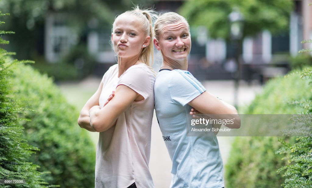 Lea Schueller and Alexandra Popp pose for a portrait during the DFB Ladies Marketing Day on June 20, 2017 in Frankfurt am Main, Germany.