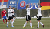 Lea Schuller of Germany celebrate his goal with the Nina Ehegotz during the Under19 Women's International friendly match between Serbia and Germany...