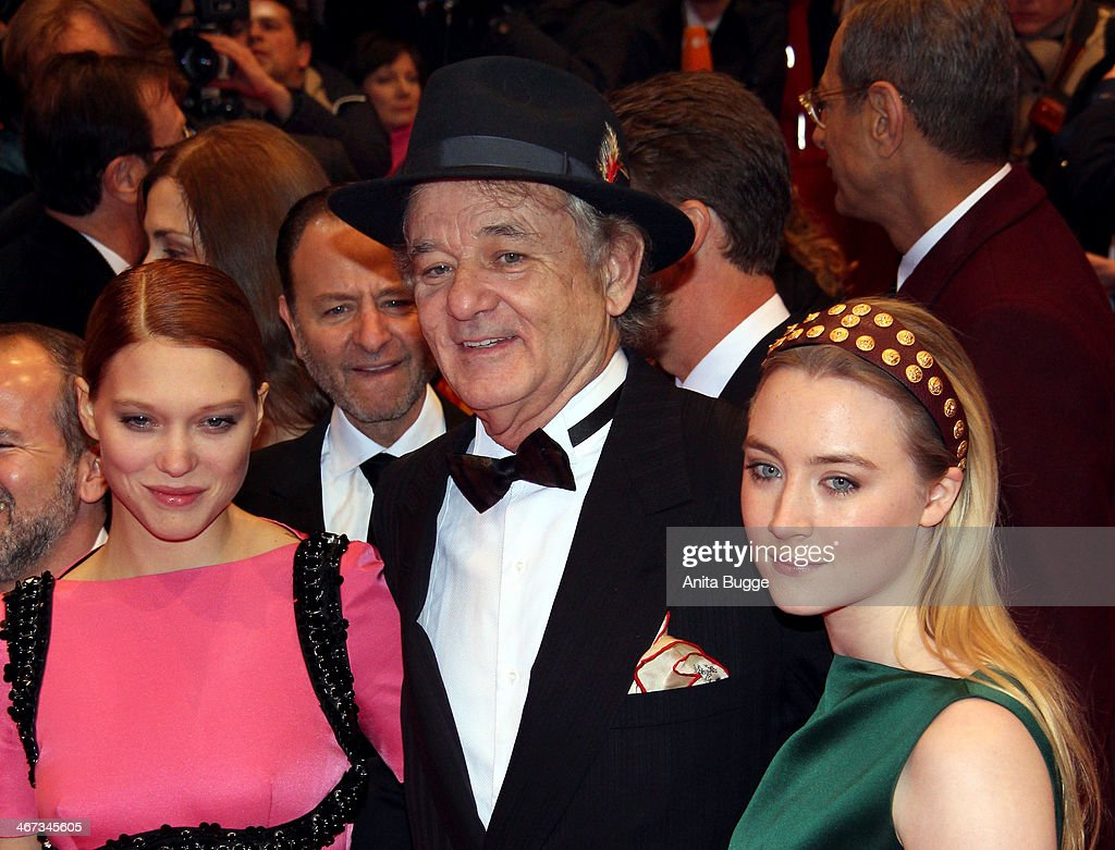Lea Seydoux, actor <a gi-track='captionPersonalityLinkClicked' href=/galleries/search?phrase=Bill+Murray&family=editorial&specificpeople=171116 ng-click='$event.stopPropagation()'>Bill Murray</a> and actress <a gi-track='captionPersonalityLinkClicked' href=/galleries/search?phrase=Saoirse+Ronan&family=editorial&specificpeople=4475637 ng-click='$event.stopPropagation()'>Saoirse Ronan</a> attend the 'The Grand Budapest Hotel' premiere during the 64th Berlinale International Film Festival at Berlinale Palast on February 6, 2014 in Berlin, Germany.