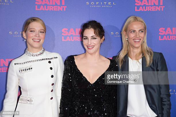 Lea Seydoux Amira Casar Aymeline Valade attend the 'Saint Laurent' at Centre Pompidou on September 23 2014 in Paris France